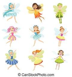 mignon, caractères, girly, fées, collection, joli, dessin animé, robes