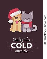 mignon, card., c'est, salutation, dehors, chaton, bébé, froid, chiot, noël