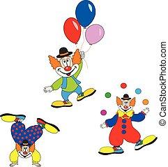 mignon, carnaval, set., caractère, clown, invitation., anniversaire, conception, fête, ou