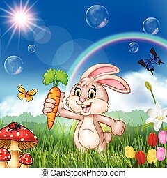 mignon, carotte, lapin, tenue, dessin animé