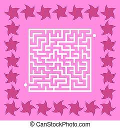 mignon, carrée, illustration., conundrum., labyrinthe, résumé, star., jeu, vecteur, children., maze., puzzle, kids.