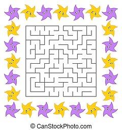mignon, carrée, illustration., conundrum., labyrinthe, résumé, star., puzzle, jeu, vecteur, children., maze., dessin animé, kids.