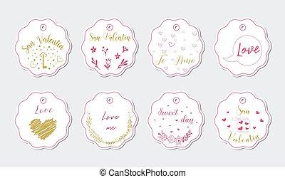 mignon, carte, à, griffonnage, coeur, icônes, pour, saint-valentin, retro, couleurs, vecteur, illustration