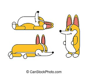 mignon, cartoon., set., chien, illustration, chouchou, vecteur, petit, corgi