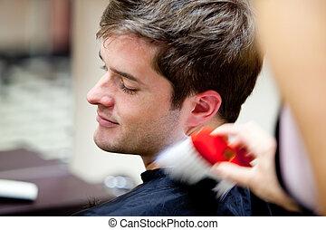 mignon, caucasien, client, dans, a, salon coiffure