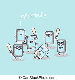 mignon, cellphone, tyran, dessin animé