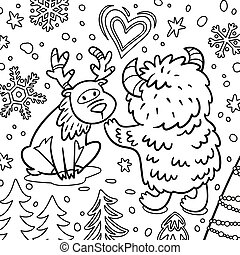 mignon, cerf, forest., contour, illustration, ou, yeti, bigfoot