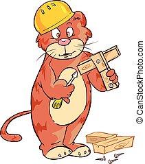 mignon, charpentier, illustration, chat, vecteur, fond, blanc