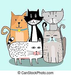 mignon, chat, bande, dessiné, main, dessin animé