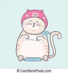mignon, chat, dessiné, dessin animé, main