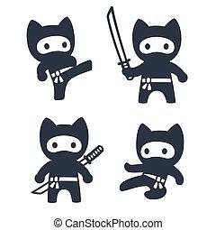 mignon, chat, dessin animé, ninja, ensemble