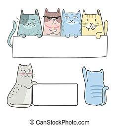 mignon, chat, vide, tenue, signe