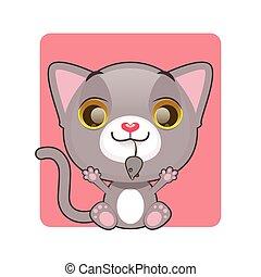 mignon, chaton, souris, tenue, gris