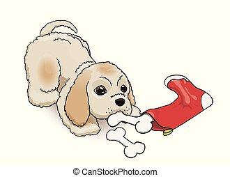 mignon, chaussette, pelucheux, caractère, veille, épagneul, puppy., cocker, année, nouveau, dessin animé, présent