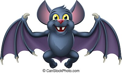 mignon, chauve-souris, halloween, vampire, animal, dessin animé