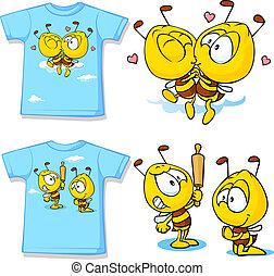 mignon, chemise, -, dos, isolé, abeilles, blanc, devant,...