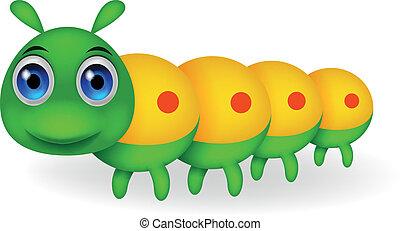 mignon, chenille, vert, dessin animé