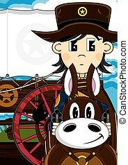 mignon, cheval, cow-boy, ouest, sauvage, dessin animé