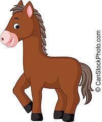 mignon, cheval, dessin animé