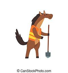 mignon, cheval, pelle, caractère, ouvrier, illustration, vecteur, animal, humanized, dessin animé
