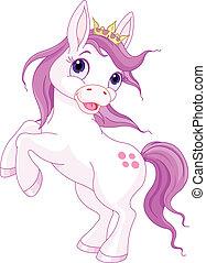 mignon, cheval, princesse, rearing haut