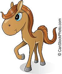 mignon, cheval, vecteur, poney