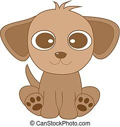 mignon, chien, brun, oeil, grand, regarder