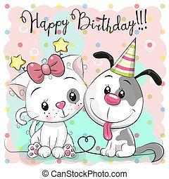 mignon, chien, chat, carte anniversaire, salutation