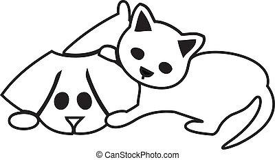 mignon, chien, chat