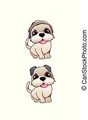 mignon, chien, illustration
