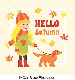 mignon, chien marche, automne, girl, dessin animé, carte