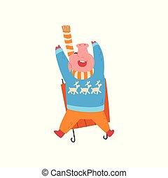 mignon, chinois, cochon, bas, clair, calendrier, conception, sledding, rigolote, carte, habillé, caractère, nouveau, noël, symbole, vêtements, illustration, année, chaud, élément, vecteur, porcin, invitation, colline