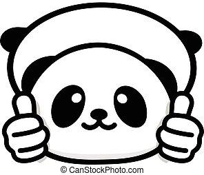 mignon, chinois, main, consentement, résumé, adoption., pouces, logo, sien, rigolote, peu, image, panda, noir, blanc, logo., symbole, projection, ours, approbation, ok, haut, vecteur, geste