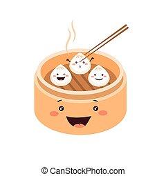 mignon, chinois, sombre, boulettes, somme, traditionnel, dessin animé