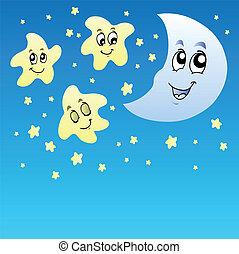 mignon, ciel nuit, étoiles, lune