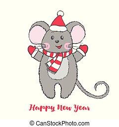 mignon, claus, caractère, santa, hat., souris