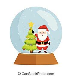 mignon, claus, neige, sphère, santa, noël