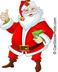 mignon, claus, santa, cadeau