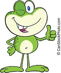 mignon, cligner, grenouille verte, caractère