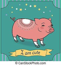 mignon, cochon, à, patins