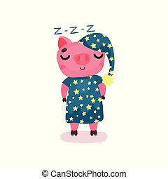 Mignon cochon dessin anim dormir mignon illustration - Dessin cochon debout ...