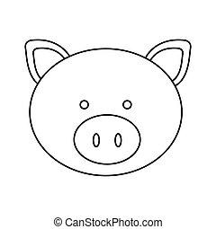 Cochon Dessin cochon, dessin animé, icône. plat, illustration, cochon, vecteur