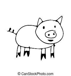 Mignon dessin anim cochon mignon vecteur dessin - Dessin cochon mignon ...