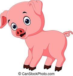 Mignon poser dessin anim cochon mignon illustration - Dessin cochon mignon ...