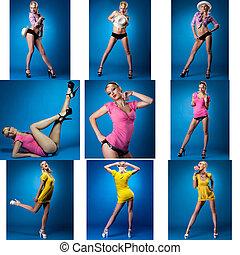 mignon, collage, épingle-augmentez, poser, studio, girl