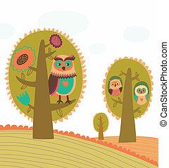 mignon, coloré, arbres, hiboux