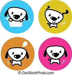 mignon, coloré, chien, isolé, boutons, blanc
