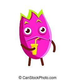 mignon, coloré, cup., caractère, illustration, dragon, jus, fruit, vecteur, boire, dessin animé, heureux