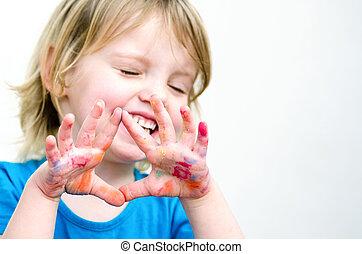 mignon, coloré, paumes, projection, foyer, sélectif, sourire, preschooler, girl, hands.