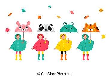 mignon, coloré, rigolote, automne, imperméables, umbrellas., filles, scène, feuilles, automne, garçons, divers, tenue, automne, amusement, jouer, gosses, avoir